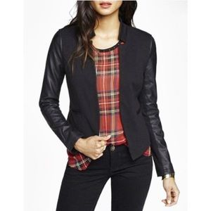 Express Leather Sleeve Blazer